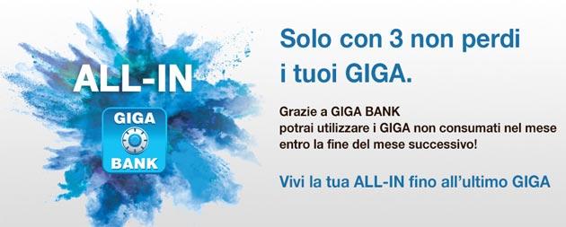 3 Giga Bank per non perdere i Giga non consumati come funziona