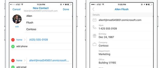 Outlook su iOS e Android migliora la gestione dei Contatti