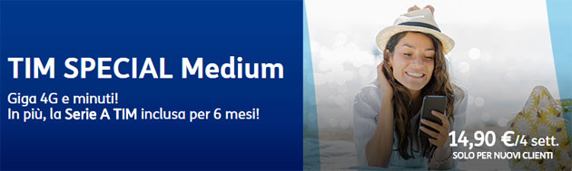 TIM Special Medium Summer Edition: 400 minuti e 4GB a 11,90 euro