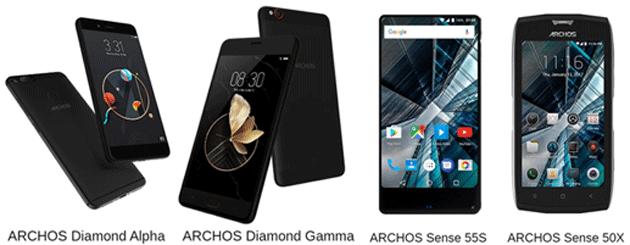 Archos lancia Diamond Alpha e Gamma, Sense 55S e 50X