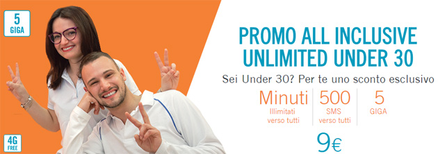 Foto Wind All Inclusive Unlimited Under 30: 5GB, 500 SMS e minuti illimitati a 9 euro [fino al 21 gennaio 2018]