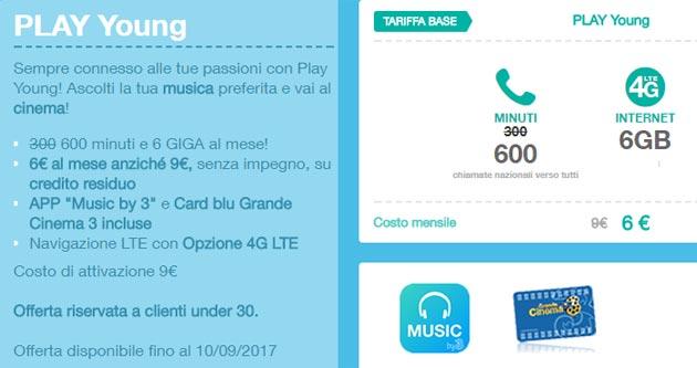 3  PLAY Young: 150 minuti e 1,5 Giga per 1,5 euro a settimana
