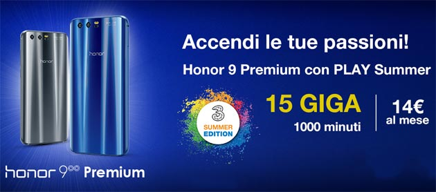 Honor 9 Premium con 3 Play Summer e 3 Play Young
