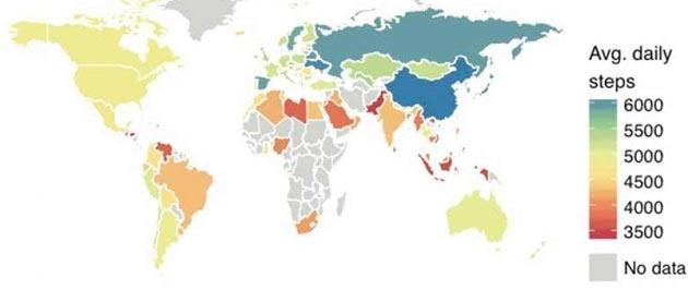 Smartphone utili per classificare i Paesi in base alla attivita' fisica della popolazione