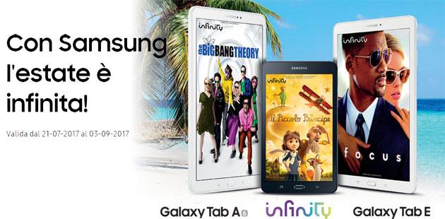 Samsung Galaxy Tab A6 e Tab E regalano 1 anno di Infinity