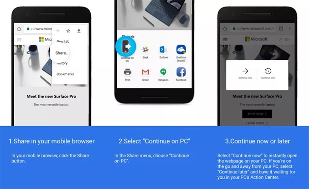 Windows 10, anteprima del collegamento di un telefono Android ad un PC