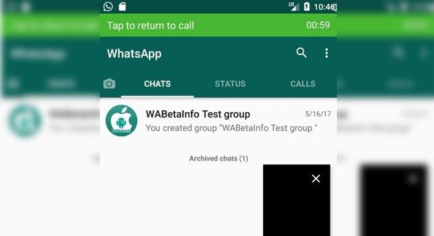 Whatsapp, videochiamate Picture-In-Picture
