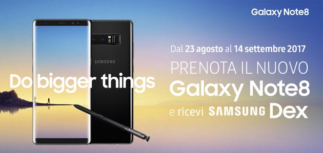 Samsung Galaxy Note8 in Italia: prezzi ufficiali e offerte Vodafone, TIM, Wind, Tre