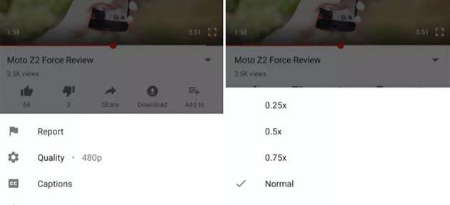 YouTube per Android, controlli di velocita'