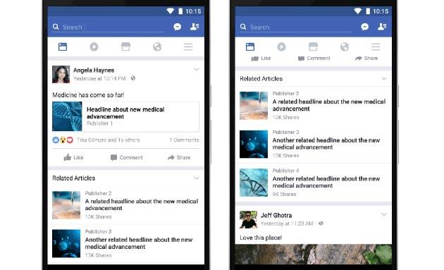 Facebook, articoli correlati utili per trovare false news