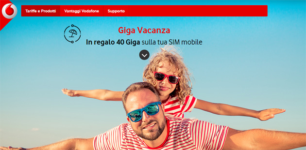 Vodafone giga vacanza fino a 40 giga in regalo sul mobile for Regalo casa mobile