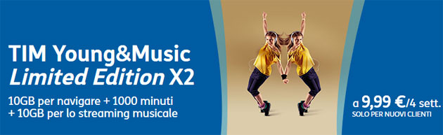 TIM Young e Music raddoppia con la Limited Edition X2 da 9,99 euro