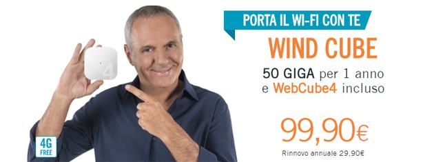 Wind Cube, 50 Giga per 1 anno e modem WiFi WebCube4 a 99,90 euro