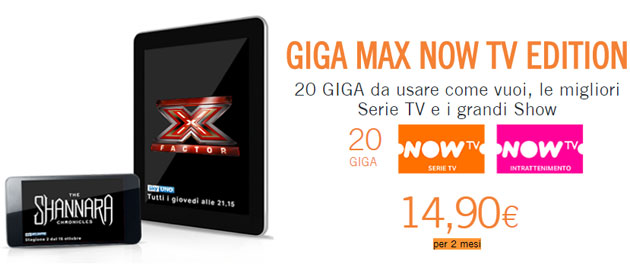 Wind Giga Max Now TV Edition con 20 Giga, Serie TV e Show di Now TV per 2 mesi a 14,90 euro fino al 2 aprile
