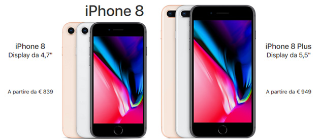 Apple iPhone 8 e 8 Plus ufficiali: Specifiche, Caratteristiche, Foto, Video e Prezzi