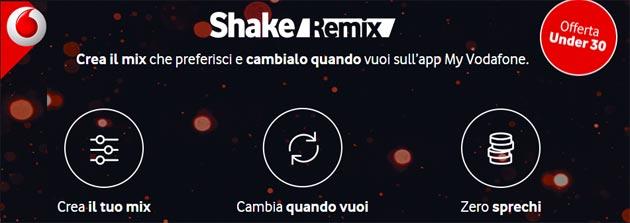 Vodafone Shake Remix, offerta con soglie di Giga, SMS e minuti personalizzabili