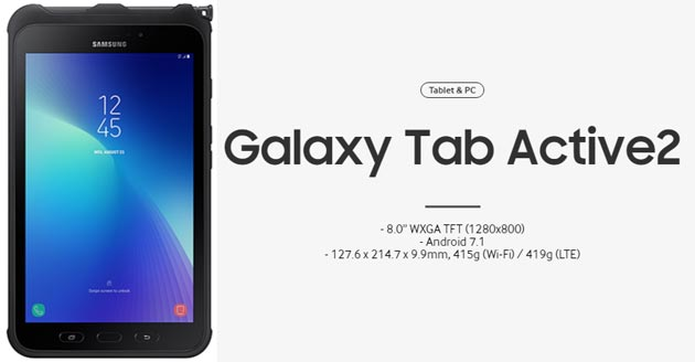 Samsung Galaxy Tab Active2, tablet Android rinforzato con S Pen