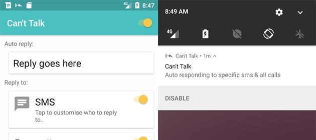 Can't Talk ha risposte automatiche per tutto, anche Whatsapp