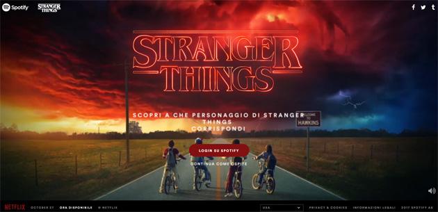 Spotify nel Sotto Sopra per scoprire a quale personaggio di Stranger Things si corrisponde in base ai gusti musicali