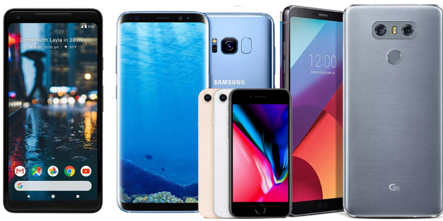 Confronto Google Pixel 2 XL vs Samsung Galaxy S8 vs Apple iPhone 8 vs LG G6 vs Huawei P10
