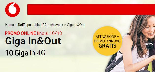 Vodafone Giga In e Out, 10 Giga per 10 euro ogni 4 settimane [fino al 21 novembre]