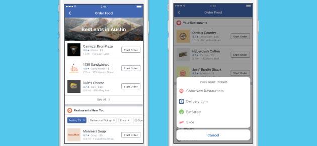 Facebook permette di ordinare il cibo online