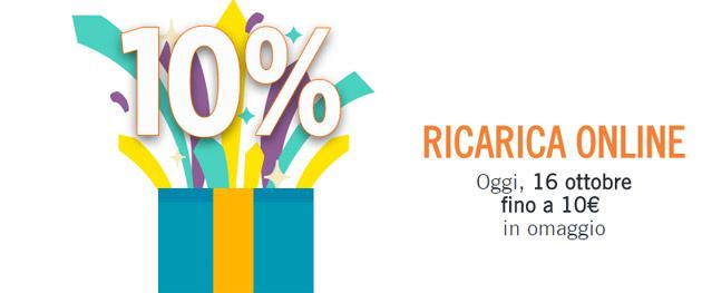 Wind Ricarica Online: 10 per cento in omaggio oggi 16 ottobre