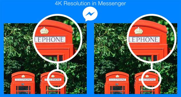Facebook Messenger aumenta risoluzione foto al 4k