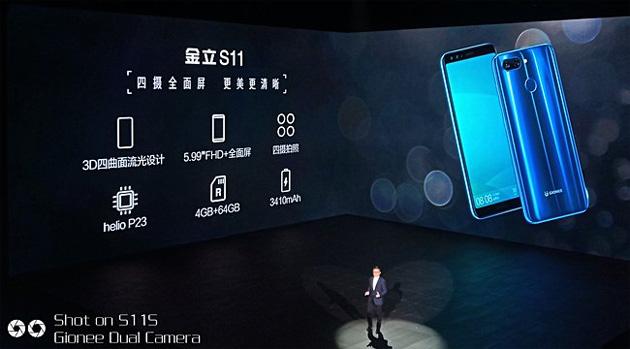Gionee annuncia sei smartphone 18:9 tra cui: S11, S11s, S11 Lite e F205