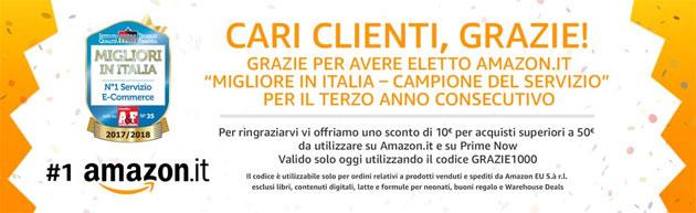 Amazon regala sconto di 10 euro per essere un Migliore in Italia - Campione del Servizio [solo oggi 10 novembre]