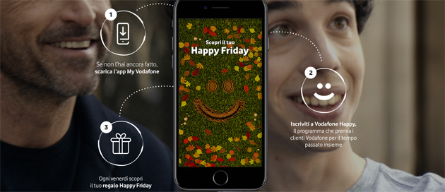 Foto Vodafone Happy Friday il 24 Novembre regala un Vodafone Pass per 1 mese