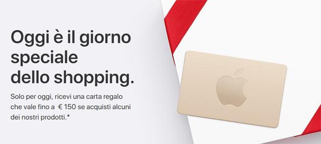 Apple Black Friday 2017: carta regalo fino a 150 euro acquistando determinati prodotti