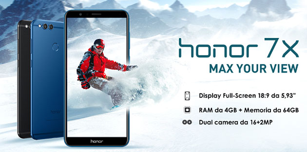 Honor 7X con display FullView e dualcamera in Italia da 299 euro