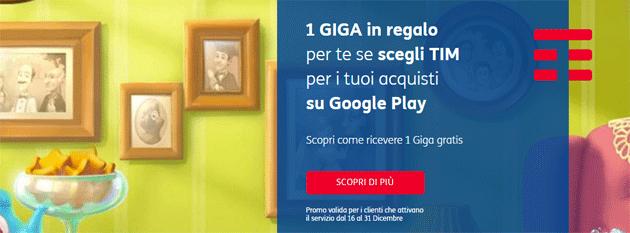 TIM regala 1 Giga acquistando su Google Play col credito telefonico