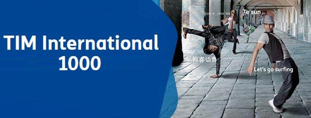 TIM International 1000: 10 Giga, 1000 minuti verso tutti di cui 300 verso estero per 9,99 euro a rinnovo
