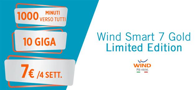 Wind Smart 7 Gold Limited Edition: 10 giga e 1000 minuti a 7 euro [fino al 11 febbraio]