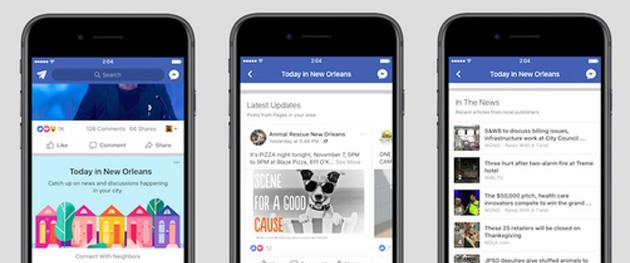 Facebook testa nuova sezione dedicata alle notizie locali