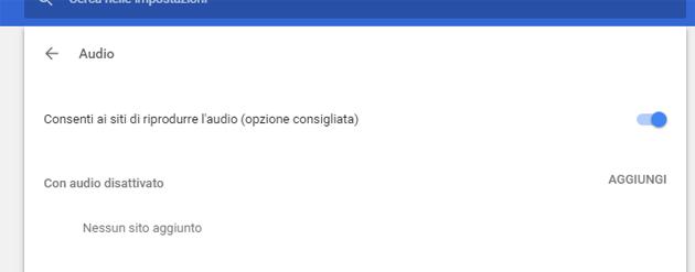 Google Chrome, la riproduzione automatica di Audio come si disattiva