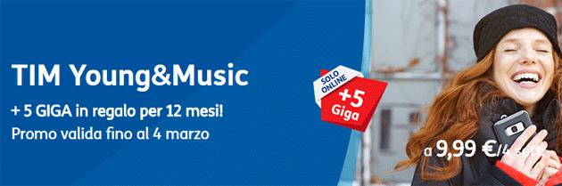 TIM Young e Music raddoppia i Giga per attivazioni online fino al 4 marzo