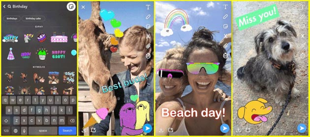 Snapchat supporta gli adesivi GIF nelle Storie
