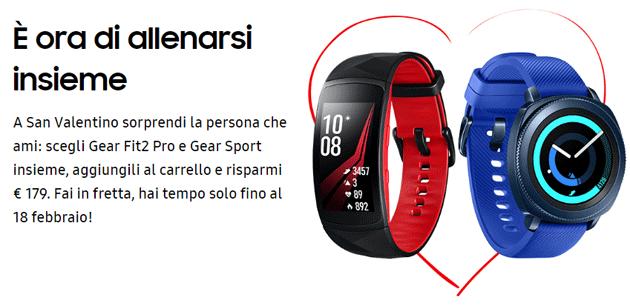 Samsung per San Valentino sconta Gear Fit2 Pro e Gear Sport di 179 euro