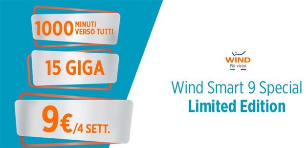 Wind Smart 9 Special: 15 giga e 1000 minuti a 9 euro fino al 20 marzo