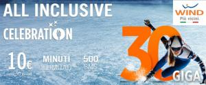 Wind All Inclusive Celebration 30: minuti illimitati, 30 Giga e 500 SMS a 10 euro solo oggi 23 Febbraio
