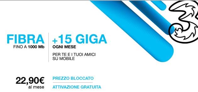 3Fiber: offerta Fisso e Mobile da 22,90 euro al mese in promozione fino al 26 Febbraio