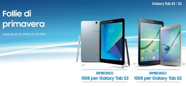 Follie di primavera Samsung: acquistando Galaxy Tab S3 o Tab S2 fino a 150 euro di rimborso