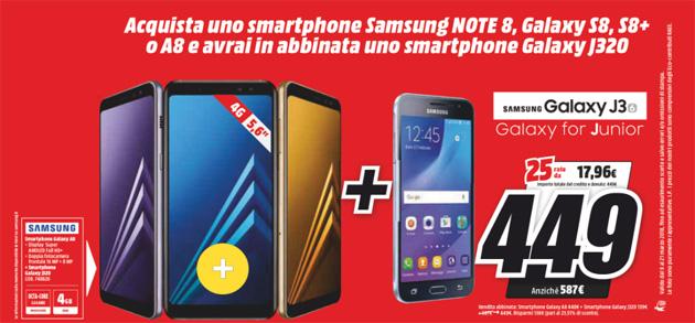 Samsung regala Galaxy J3 2016 acquistando Galaxy A8, S8 o Note8
