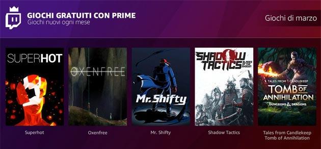 Amazon Prime Twicth regala giochi gratuiti ogni mese: i titoli di Aprile 2018
