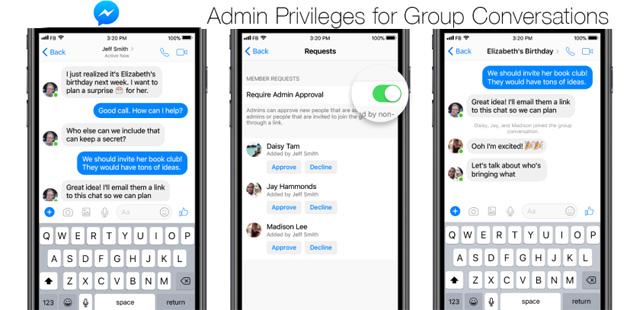 Messenger, privilegi di amministratore per chat di gruppo