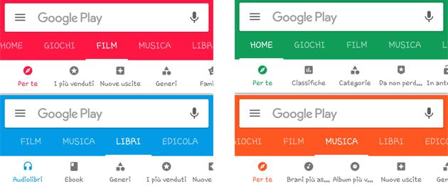 Google Play Store introduce sotto menu che non rispetta le regole del Material Design
