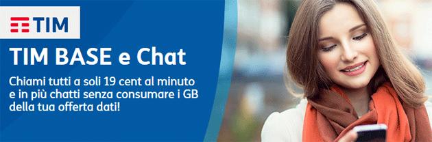 TIM BASE e Chat, nuovo piano tariffario base per non consumare giga della offerta dati attiva